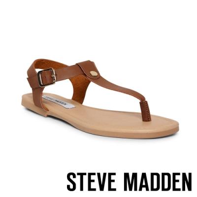 STEVE MADDEN-INTERVAL 夏日皮革扣環夾腳涼拖鞋-咖啡色