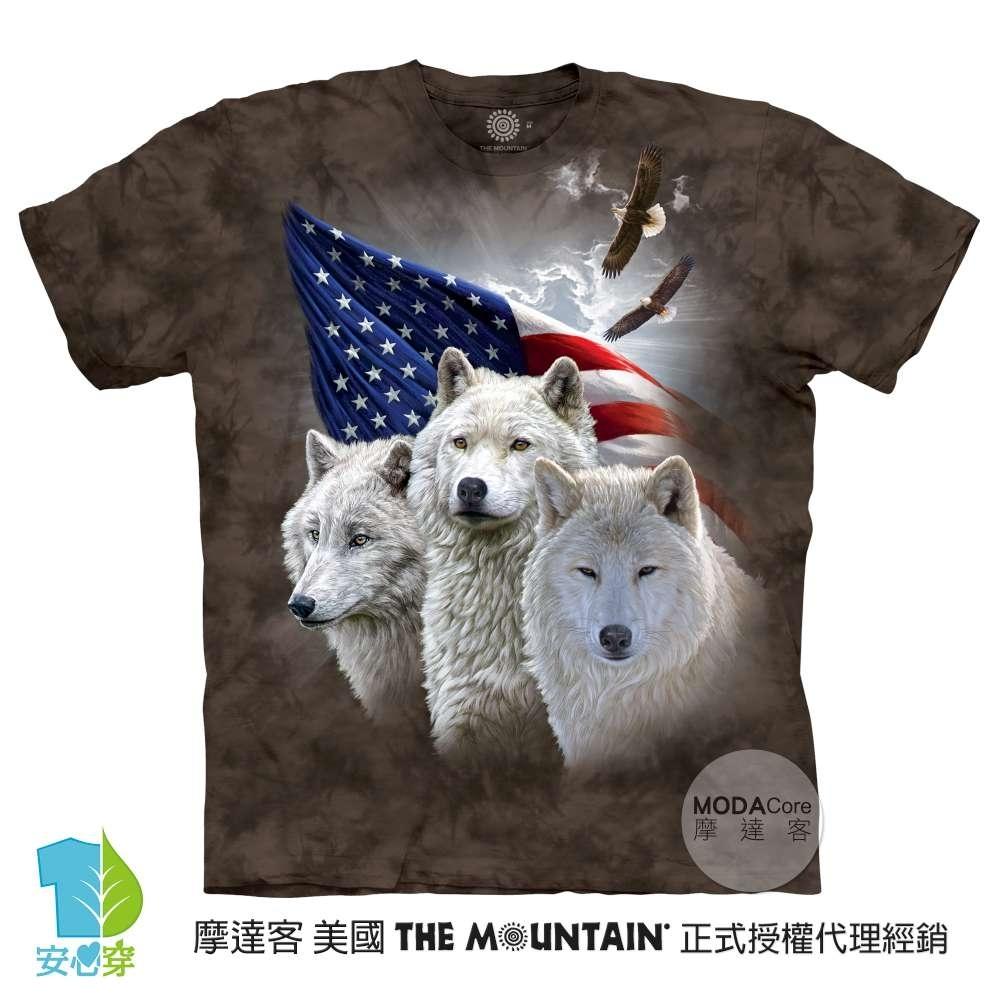 摩達客-美國進口The Mountain 愛國三白狼 純棉環保藝術中性短袖T恤