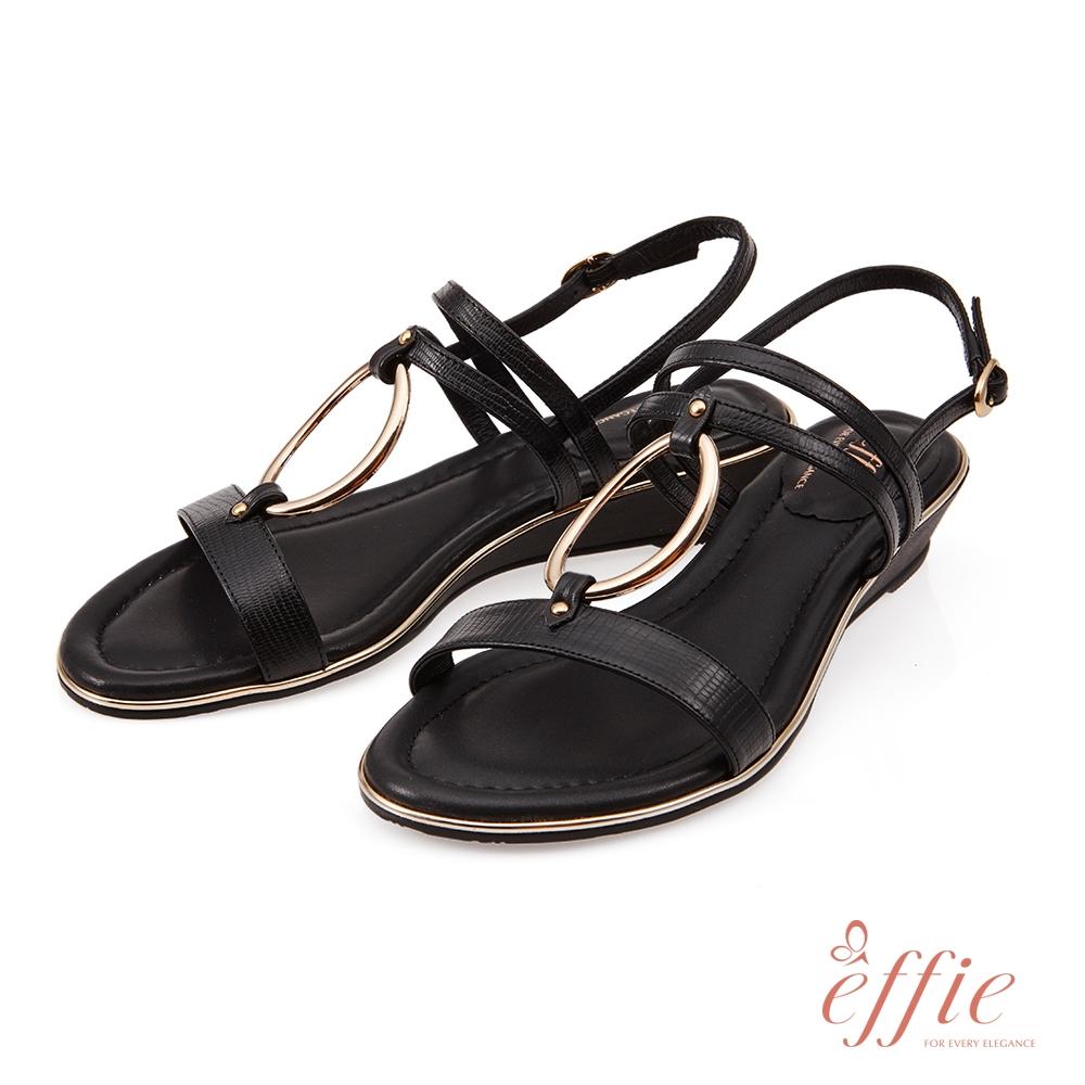 effie 簡意時尚-簡約金屬環釦低跟楔型涼鞋-黑