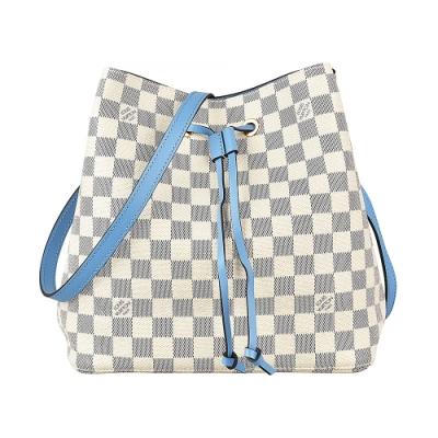 LV N40152 NEONOE棋盤格LOGO DAMIER AZUR帆布束口斜背包(藍)