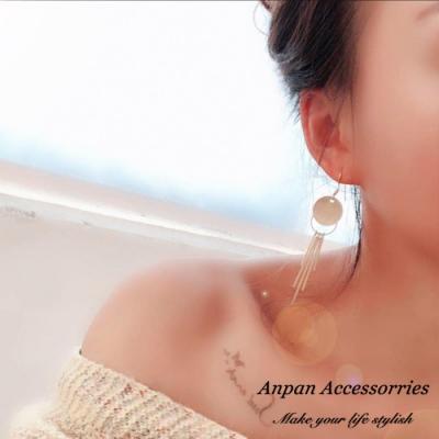 【ANPAN愛扮】簡約金屬幾何優雅線條流蘇掛勾式耳環