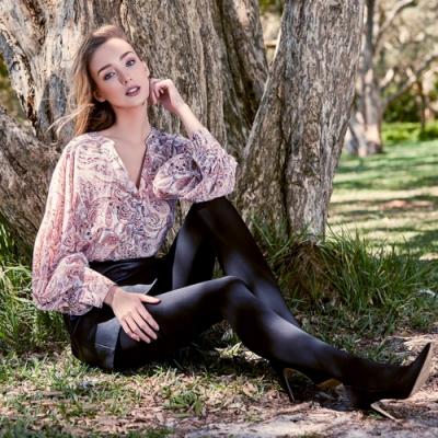 日本 R92 天鵝絨塑型美腿褲襪 收腰提臀 保暖輕時尚 - 黑色