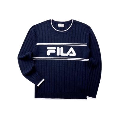 FILA 男長袖線衫-丈青 1SWT-5454-NV