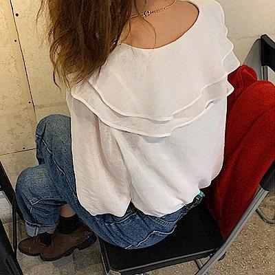 仙女荷葉領透視襯衫(2件式)-TMH