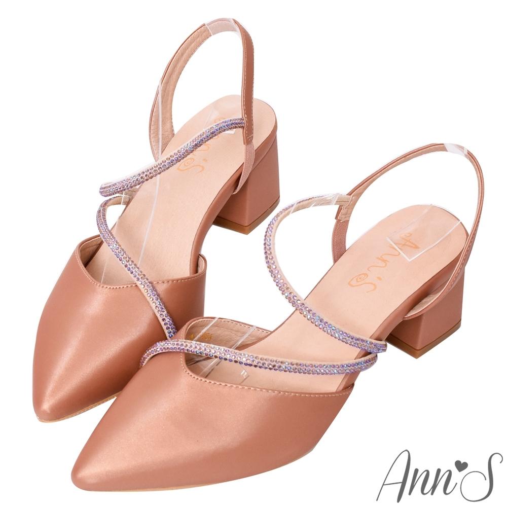 Ann'S約會勝利-細膩彩鑽顯瘦曲線拉帶尖頭跟鞋-棕