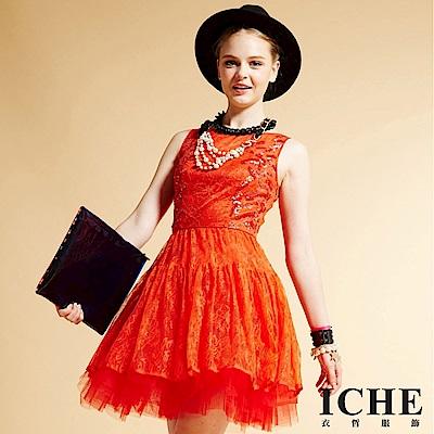 ICHE 衣哲 滿版蕾絲立體亮造型洋裝(法式情懷 X 蕾絲Lace)