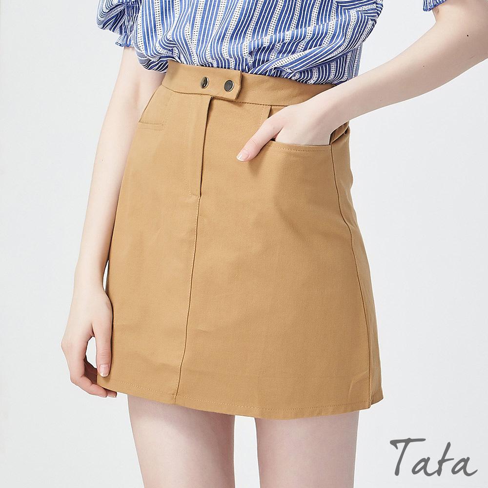後鬆緊腰雙釦褲裙 共三色 TATA @ Y!購物