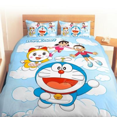享夢城堡 雙人床包涼被四件組-哆啦A夢DORAEMON 飛向天空-藍