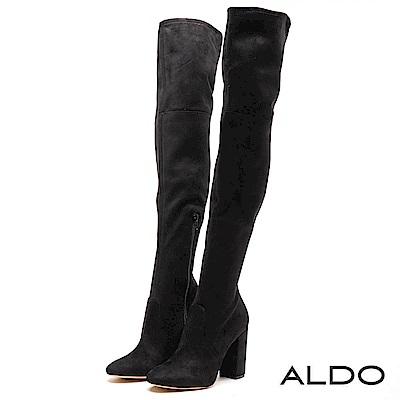 ALDO 原色魅力黑內側拉鍊式粗高跟尖頭膝上靴~尊爵黑色
