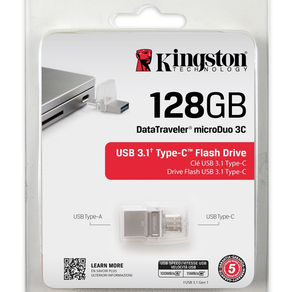 金士頓 Kingston DataTraveler MicroDuo 3C USB3.0 128G OTG 迷你兩用隨身碟 DTDUO3C/128GB