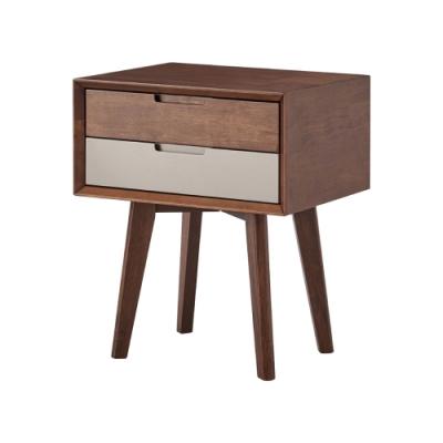 文創集 貝多1.7尺二抽實木床頭櫃/收納櫃(純粹木語)-50x40x60cm免組