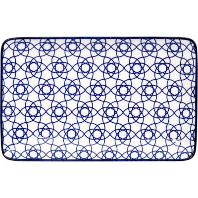 《Tokyo Design》瓷製長方餐盤(花繩藍20.5cm)