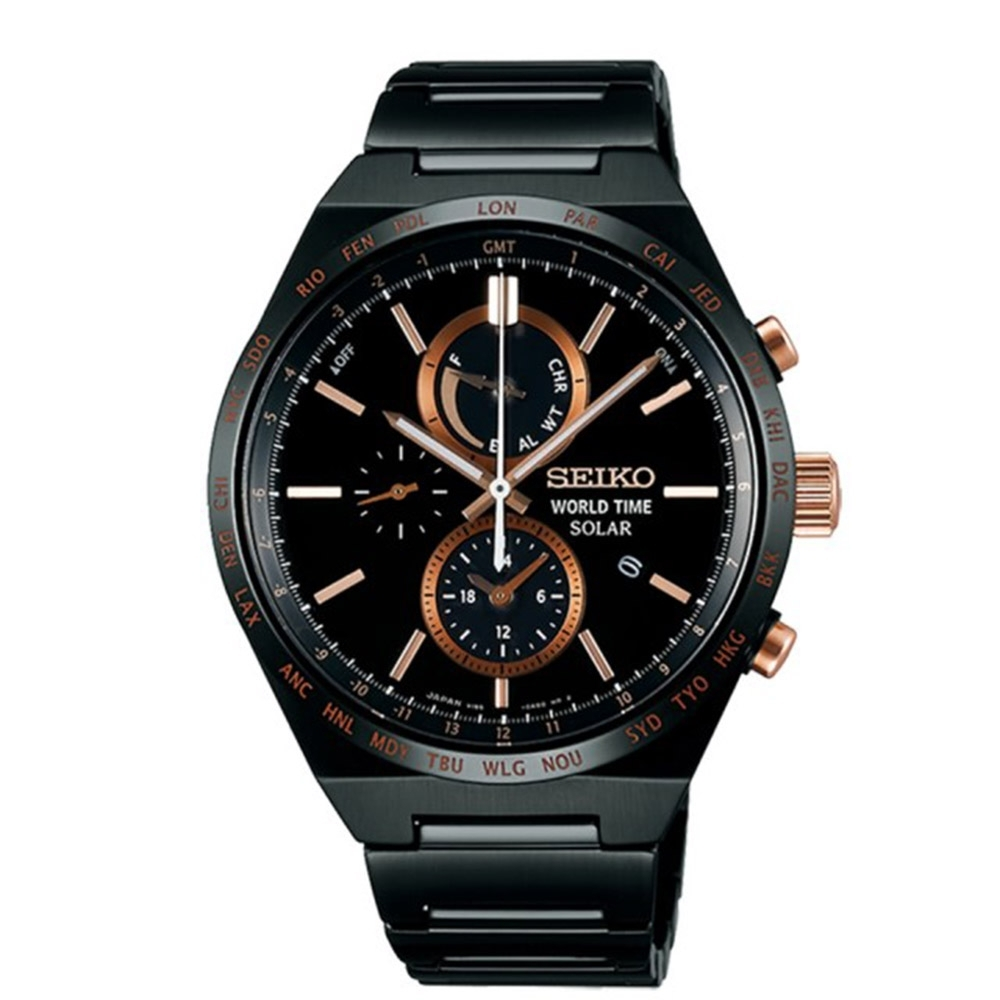SEIKO精工 SPIRIT 太陽能兩地時間計時腕錶-黑41mm(SBPJ039J/V195-0AE0K)
