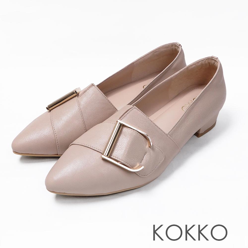 KOKKO - 泰晤士河畔尖頭環扣真皮平底鞋-優雅米