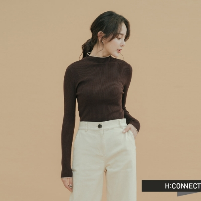 H:CONNECT 韓國品牌 女裝-滾邊小立領羅紋上衣-棕