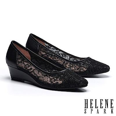 高跟鞋 HELENE SPARK 浪漫優雅蕾絲紗網布尖頭楔型高跟鞋-黑