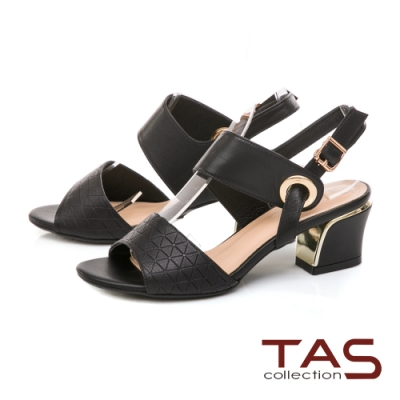 TAS 幾何壓紋寬版繫帶粗跟涼鞋-百搭黑