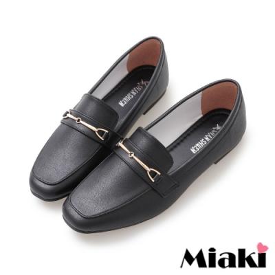 Miaki-通勤鞋經典時尚方頭平底鞋-黑