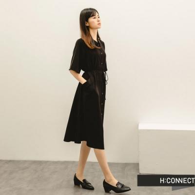 H:CONNECT 韓國品牌 女裝 -清新收腰綁帶襯衫洋裝-黑色