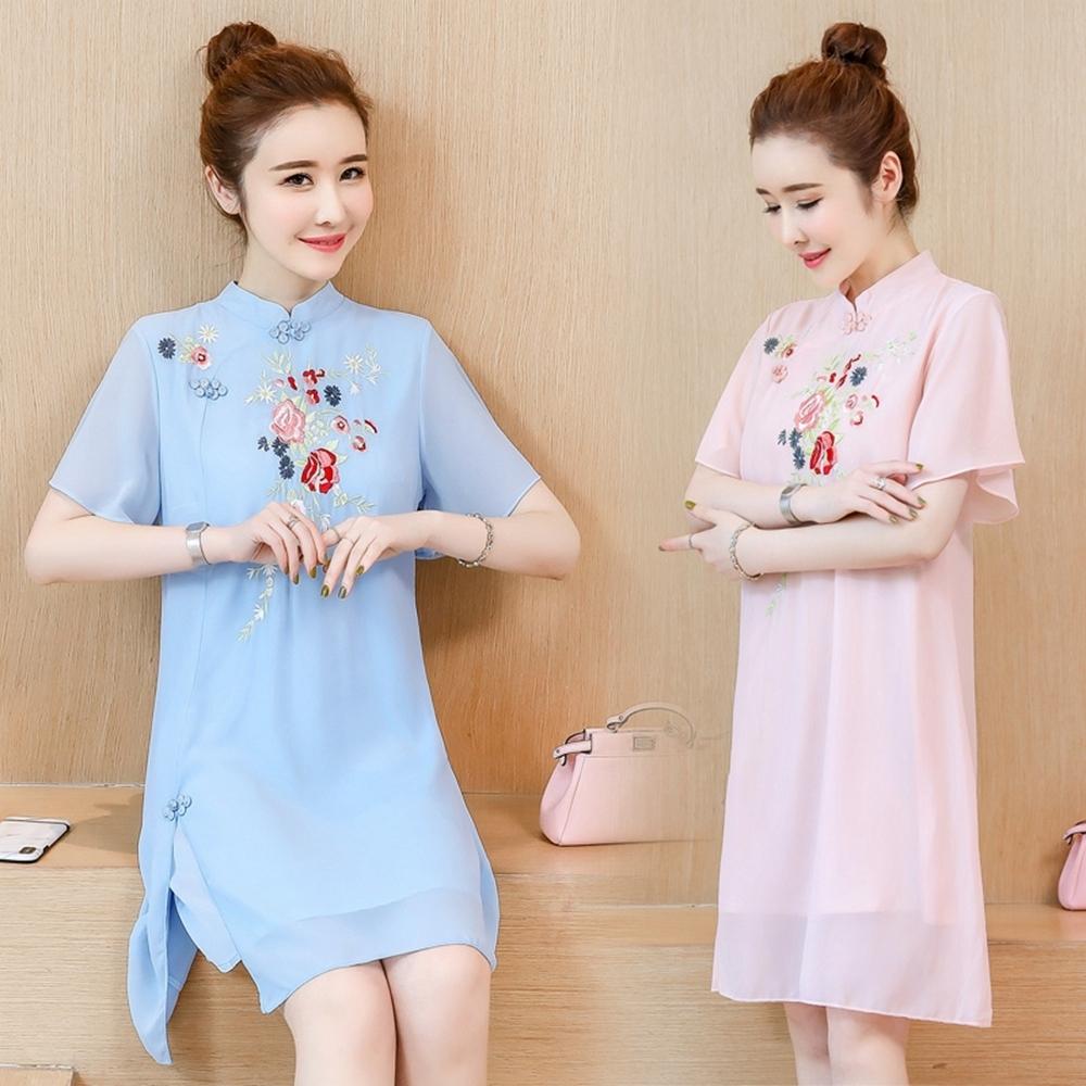 恬靜柔美中式立領盤釦刺繡改良旗袍M-4XL(共二色)REKO