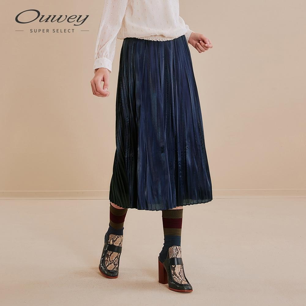 OUWEY歐薇 奢華光澤感百摺長裙(灰/藍/綠)