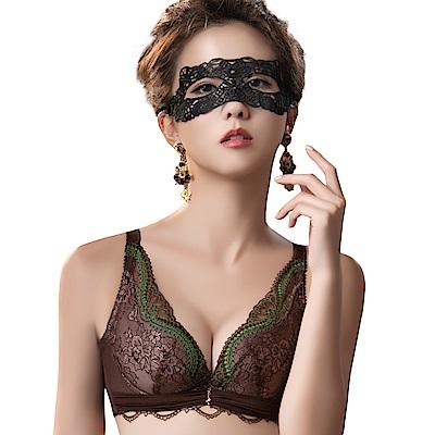思薇爾 薔薇魅影系列B-E罩深V蕾絲包覆內衣(深可可)