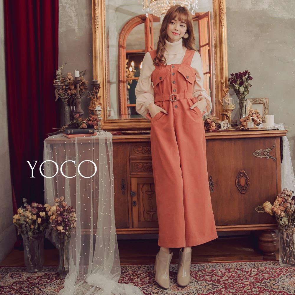 東京著衣-yoco 長腿首選前排釦設計口袋連身褲-S.M.L(共一色)