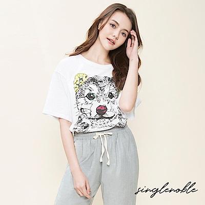 singlenoble 寫意日常手繪狗圖騰上衣(2色)