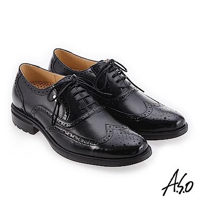 A.S.O 零壓挺力 柔款舒適真皮鞋 黑