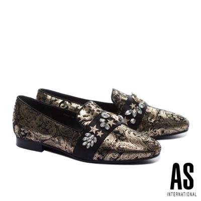 低跟鞋 AS 神秘星象鑽釦繫帶樂福低跟鞋-金