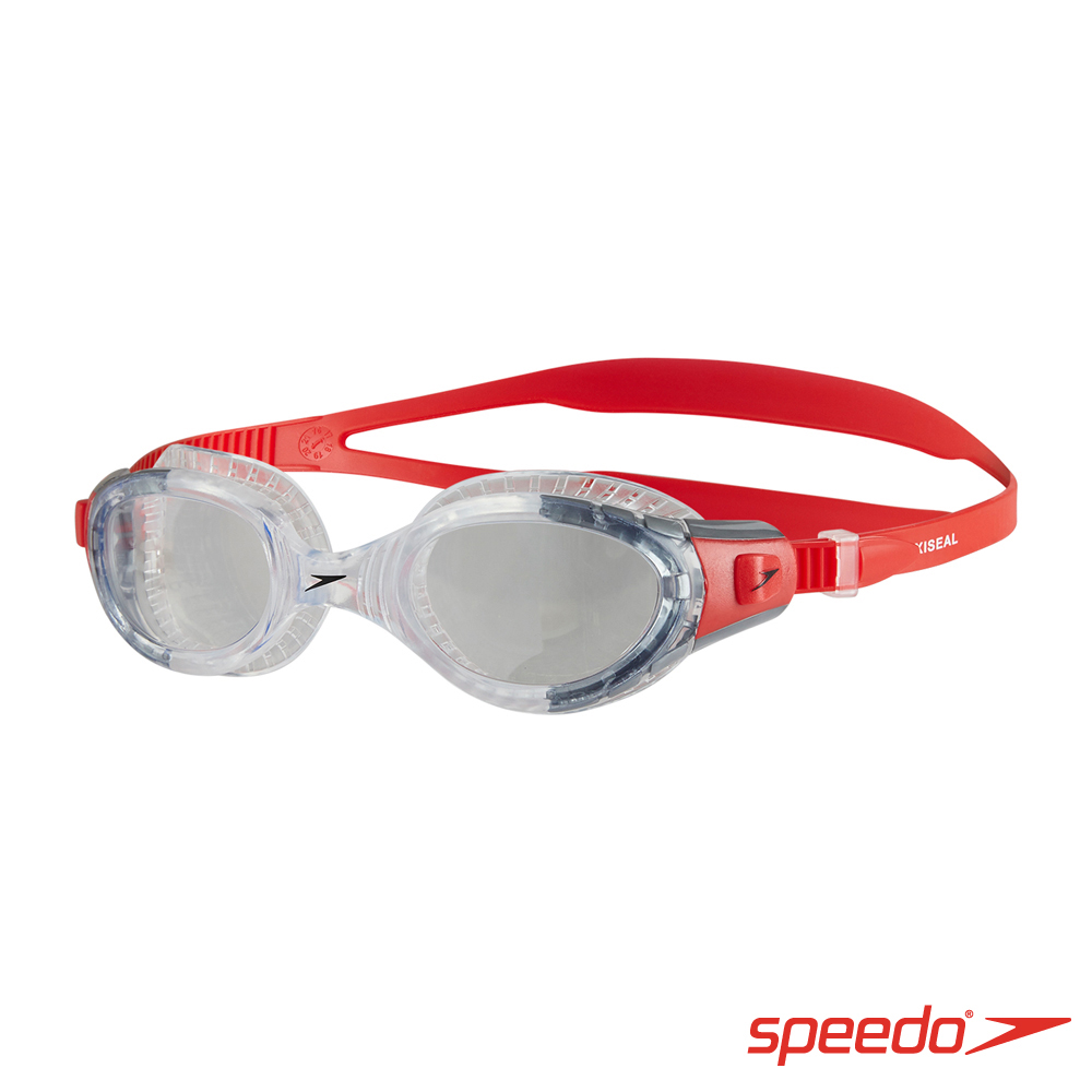 SPEEDO 成人運動泳鏡 Futura Biofuse 透明/紅