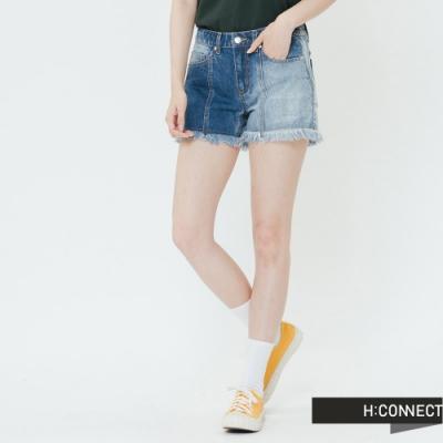 H:CONNECT 韓國品牌 女裝-造型刷色不收邊短褲-藍
