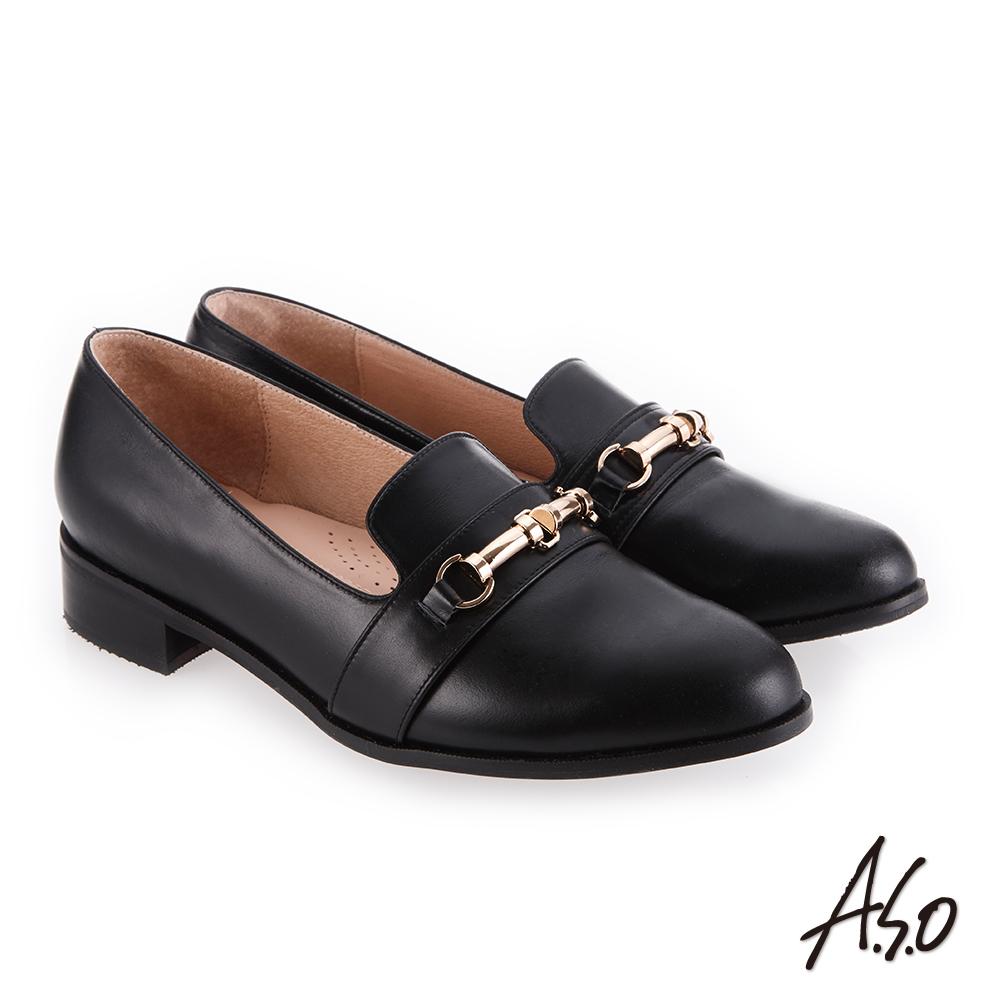 A.S.O 新式復古 嚴選皮質鞋面條帶低跟鞋 黑