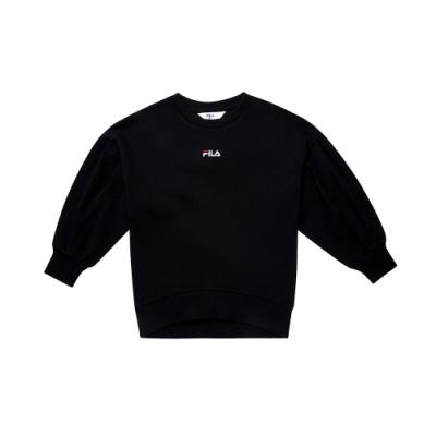 FILA KIDS #日潮攻略首部曲 女童七分袖上衣-黑色 5TEU-4435-BK