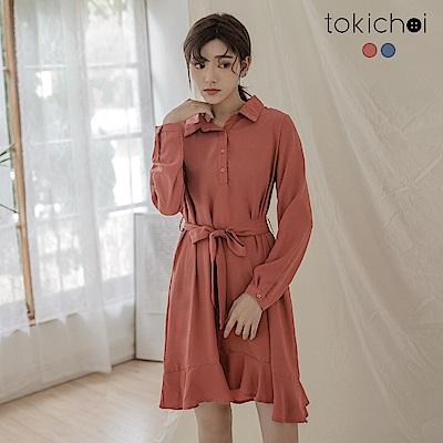 東京著衣 簡約清新半門襟綁帶洋裝-S.M(共二色)