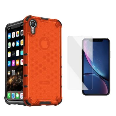 [買手機殼送保護貼] iPhone XR 赤焰橘 四角防摔 透光蜂巢手機殼 (iPhoneXR手機殼 iPhoneXR保護殼 )