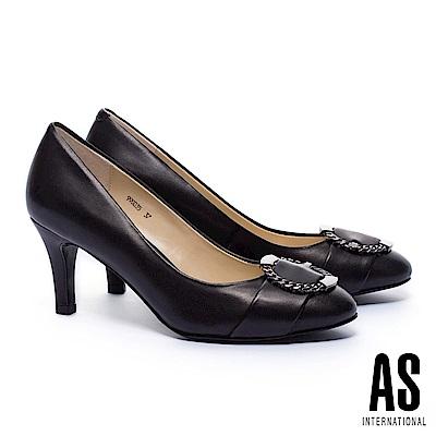 高跟鞋 AS 摩登金屬鍊型圓釦羊皮高跟鞋-黑