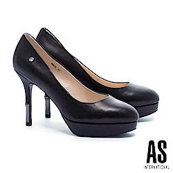 高跟鞋 AS 奢華優雅金屬跟全真皮美型尖頭高跟鞋-黑
