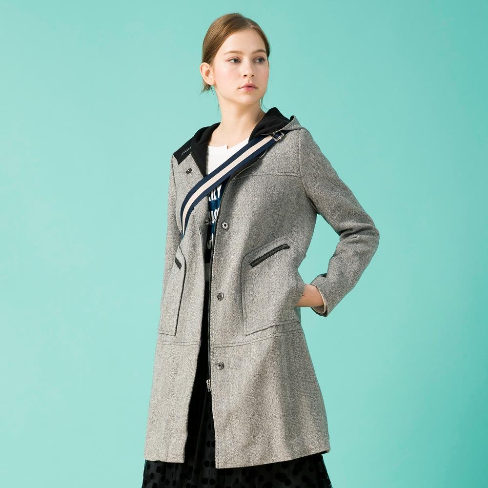【IGD 英格麗】羊毛厚挺連帽拉鍊大衣