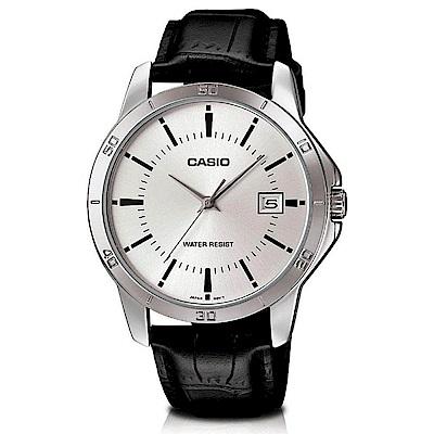 CASIO 都會男子白領羅馬指針皮帶錶-銀面(MTP-V004L-7A)/41.5mm