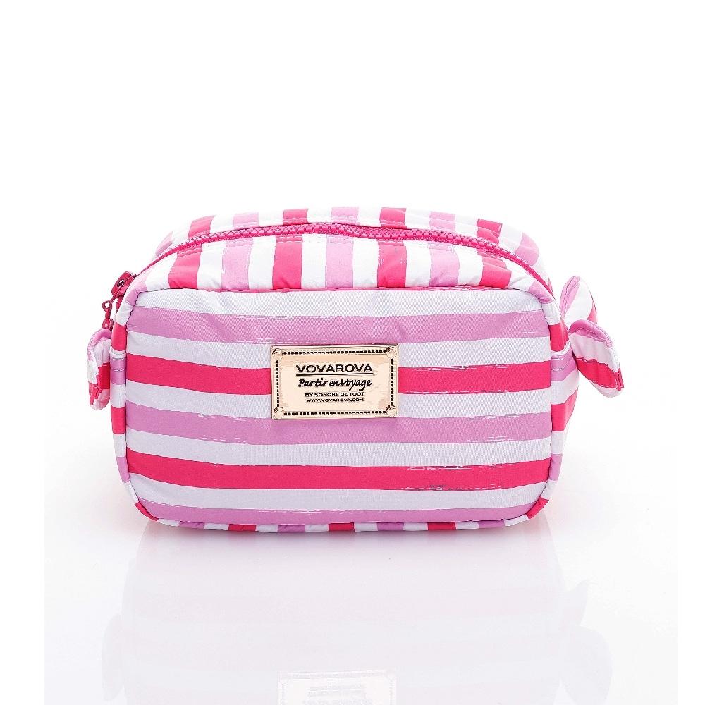 VOVAROVA空氣包-裝不滿化妝包-經典條紋(粉)