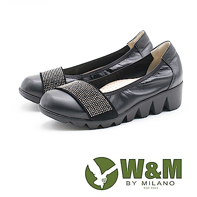 W&M 圓頭百搭 淑女牛皮厚底鞋 女鞋-黑(另有藍)