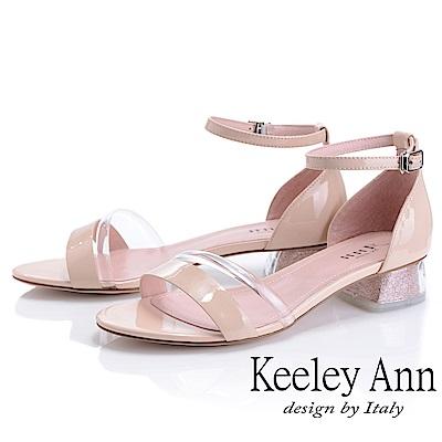 Keeley Ann造型透視跟 金蔥低跟涼鞋(杏色-Ann系列)