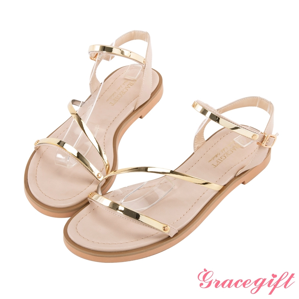 Grace gift-一字金屬細帶平底涼鞋 杏