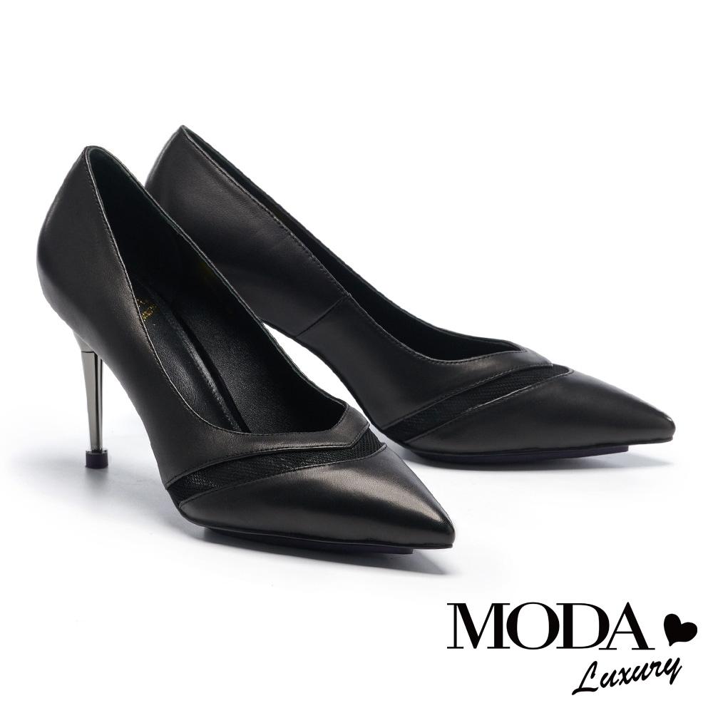 高跟鞋 MODA Luxury 輕熟時尚異材質拼接尖頭高跟鞋-黑
