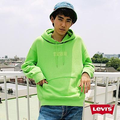 Levis 男款口袋帽T Oversize寬鬆版 螢光綠全一色刺繡Logo
