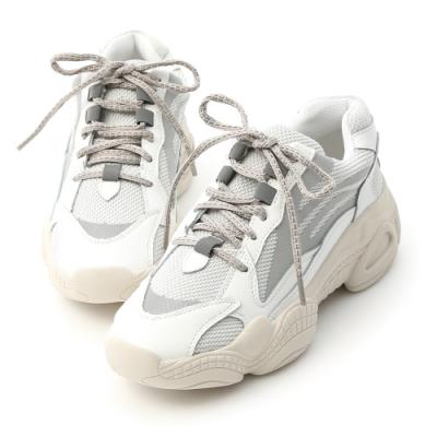 D+AF 個性攻略.真皮拼接厚底運動鞋*白