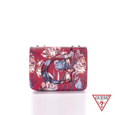 GUESS-女夾-浪漫印花鏈條肩背包-紅