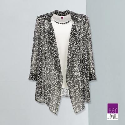ILEY伊蕾 時尚豹紋微閃假兩件七分袖上衣(黑)