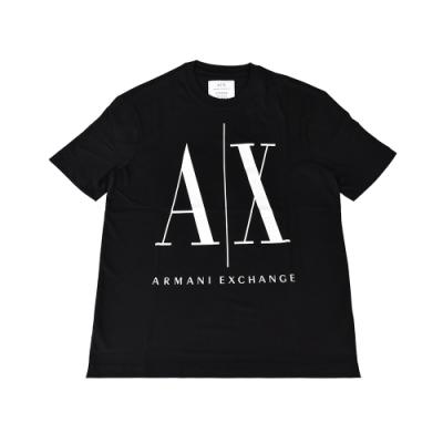 A│X Armani Exchange經典壓印字母LOGO造型純棉短袖T恤(XS/S/M/L/黑x白字)
